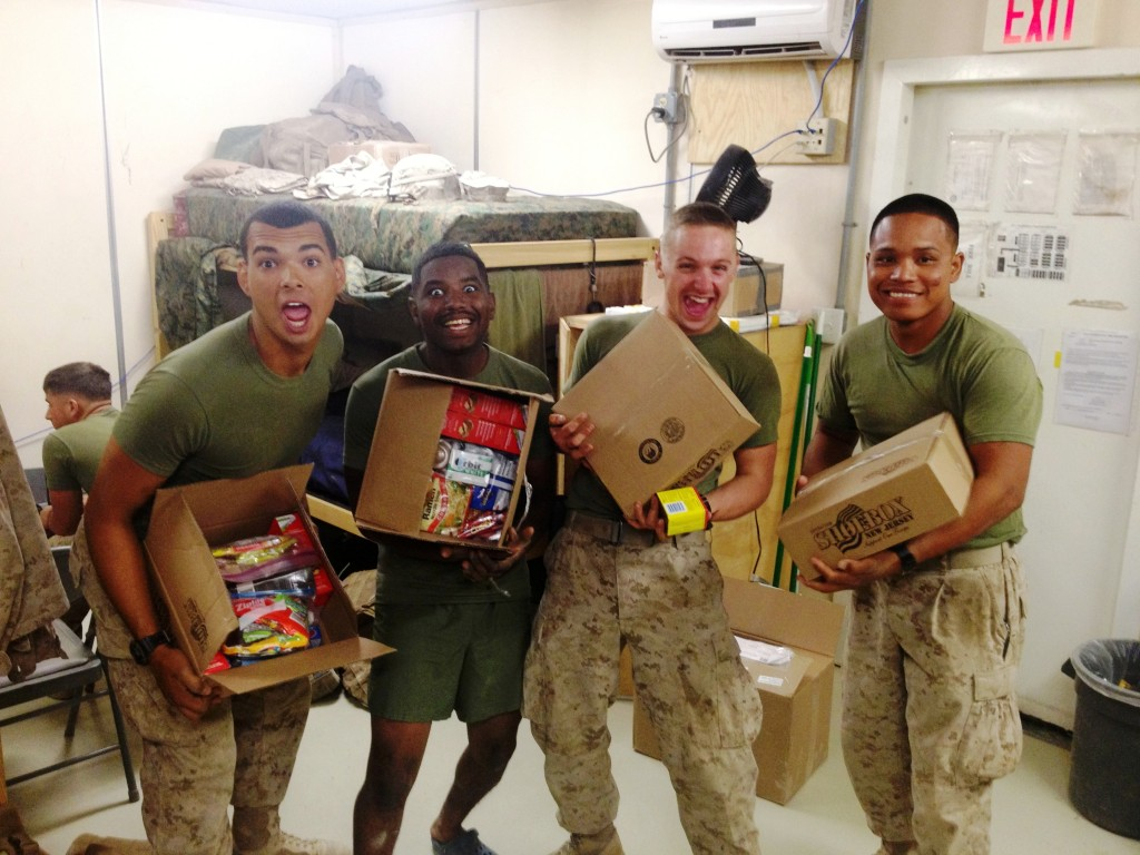 HOO-rah!! Four Marines at a base in Afghanistan are excited to receive personal care packages from Operation Shoebox New Jersey